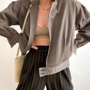Vintage Striped Aviator Cropped Blazer